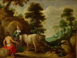 Jupiter geeft Juno de in een koe veranderde Io