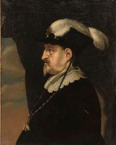 Portret van koning Christiaan IV (1577-1648) van Denemarken, en profil met een gevederde hoed