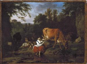 Landschap met herderin en kudde op de oever van een watertje