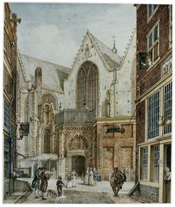 De Oude Kerk gezien vanaf de Enge Kerksteeg, in Amsterdam