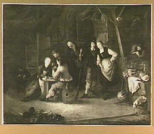 Interieur van een herberg met kaartspelers en andere figuren