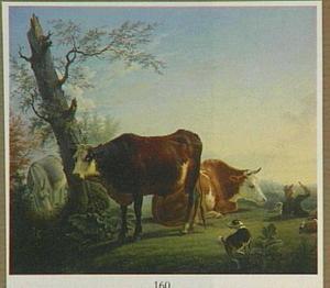 Landschap met vee en een rustende herdersjongen