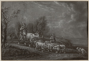 Herder en herderin met kudde