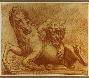 Een paard aangevallen door een leeuw