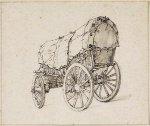Een huifkar met vier wielen