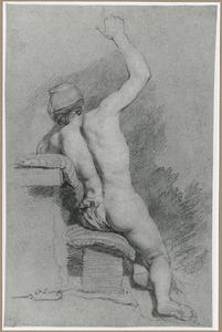 Zittend manlijk naakt, rugfiguur