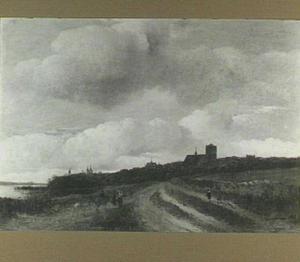 Landschap met gezicht op Naarden met de Grote of St. Vituskerk