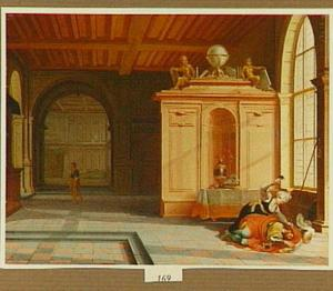Paleisinterieur met Jael, die Sisera doodt met een spijker in zijn slaap  (Richteren 4:12-21)