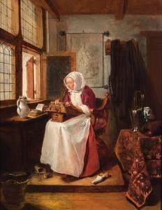 Kantklossende vrouw aan het raam