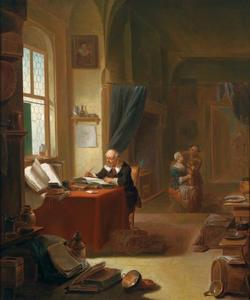 Geleerde in zijn studeerkamer, schrijvend in boek