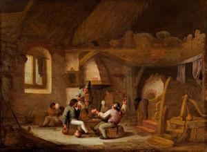 Drinkende, rokende en musicerende boeren in een interieur