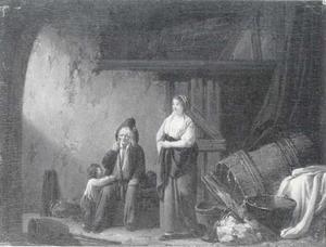 Een familie in een vervallen interieur