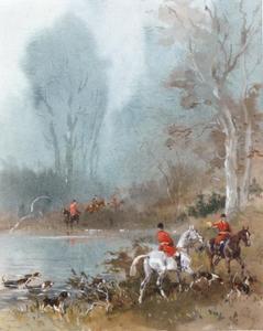 Jacht te paard rond een meertje