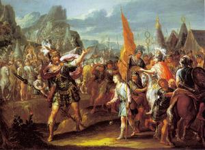 David en Goliat voor het gevecht (1 Samuel  17:40-47