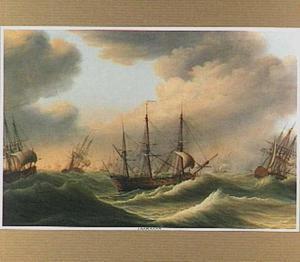 Oorlogsschepen op woelig water