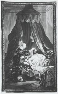 Psyche met een lamp naar de slapende Cupido kijkend