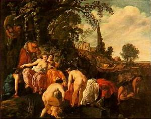 Mozes door de dochter van farao gevonden in een biezen mandje (Exodus 2:5-6)