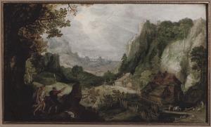 Berglandschap met Tobias en de engel onderweg naar Ecbatana (Tobit 4-6)