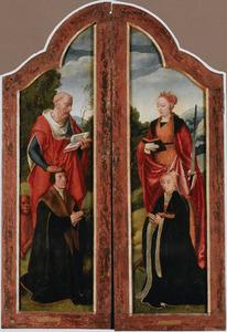 De H. Hiëronymus (links) met een mannelijke donor en de H. Catharina van Alexandrië (rechts) met een vrouwelijke donor