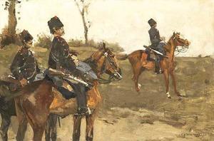 Drie cavaleristen op de heide
