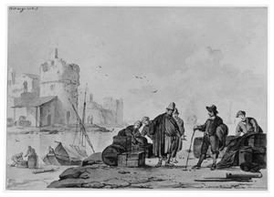 Haventafereel met handelaren en het laden van een schip