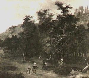 Landschap met reizigers op een weg door een bos
