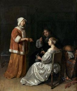 Interieur met twee jonge vrouwen in gesprek en een man die een munt toont