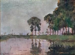 Bend in the Gein with poplars, three isolated I
