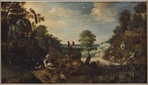 De dieren in het Aards Paradijs, op de achtergrond Adam en Eva bij de Boom van Goed en Kwaad  (Genesis 2:8-25)