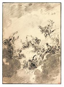 Hercules tussen Deugd en Wellust, op de wolken