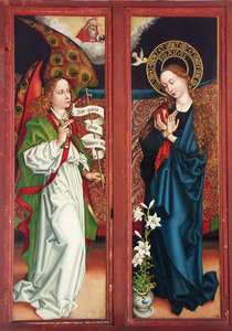 Twee zijluiken met de Annuciatie (buitenzijden) (op de binnenzijden Maria die het Christuskind aanbidt (linkerluik), de H. Antonius (rechterluik))