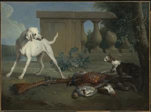Jachthond beschermt jachtbuit tegen een kat