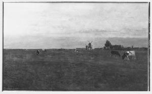 Weiland bij Leiden met houtzaagmolen De Herder en Maredijkmolen