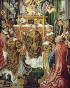 De Mis van de H. Gregorius in het bijzijn van de HH. Benedictus, Hieronymus, Laurentius en Augustinus