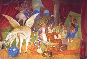 Toneelgordijn voor het ballet 'Parade'