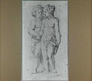 Een jongen en een meisje op een voetstuk (Allegorie van de Liefde?)