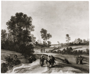 Landschap met Christus in dispuut met de farizeeërs over het aren plukken op de sabbath (Mattheus 12:1-3)