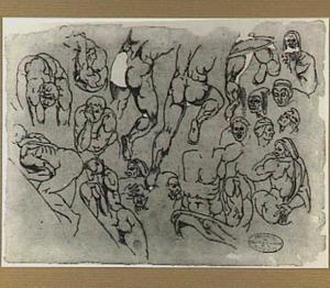 Naakte mannenfiguren en studies van koppen