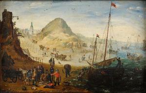 Strandgezicht met duinen en een vissersdorp