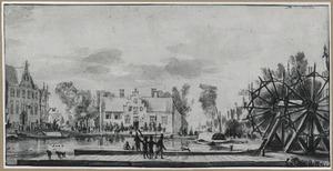 Het einde van de Overtoom bij Amsterdam; in het midden het Leidse Veerhuis