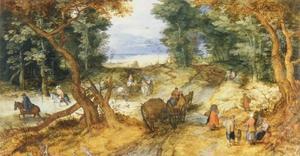 Bospad naast een doorwaadbare plek met reizigers