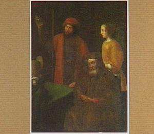 Zittende oude man, staande jonge vrouw en een piskijkende dokter in een interieur