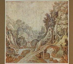 Bergachtig rivierlandschap met bruggen, op de achtergrond de tempel van de Sibylle in Tivoli