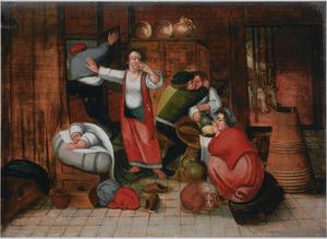 De boerenbruiloft: het afscheid van de dronken gasten
