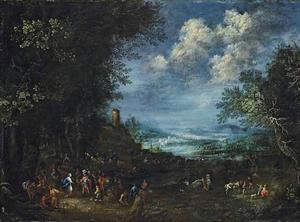 Bebost rivierlandschap met De ontmoeting van David en Abigaïl, die hem mondkost voor zijn leger brengt (1 Samuel 25:23)