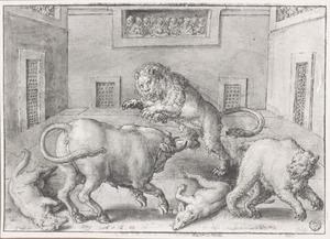 Gevecht tussen een leeuw, stier, beer en twee wolven in de arena