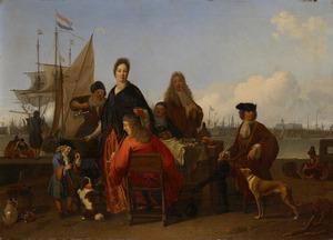 Families Backhuysen en De Hooghe aan de maaltijd op de Mosselsteiger aan het IJ te Amsterdam