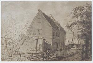 Houten huizen langs een kanaal