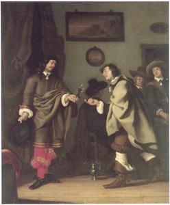 Figuren converserend in een herberg