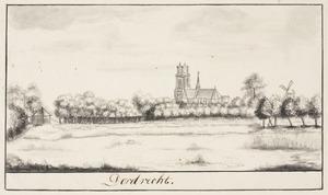 Gezicht op Dordrecht met de Grote Kerk in de achtergrond